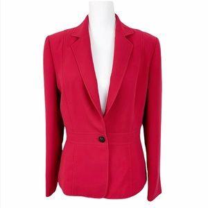 Tahari ASL Red One Button Blazer w/ Shoulder Pads